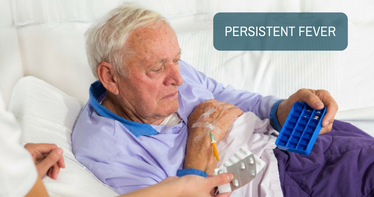 After the first chemotherapy session for CLL, my dad has a persistent fever. Why?
