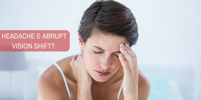 I am getting sharp headache and abrupt vision shift. What does it sound like?