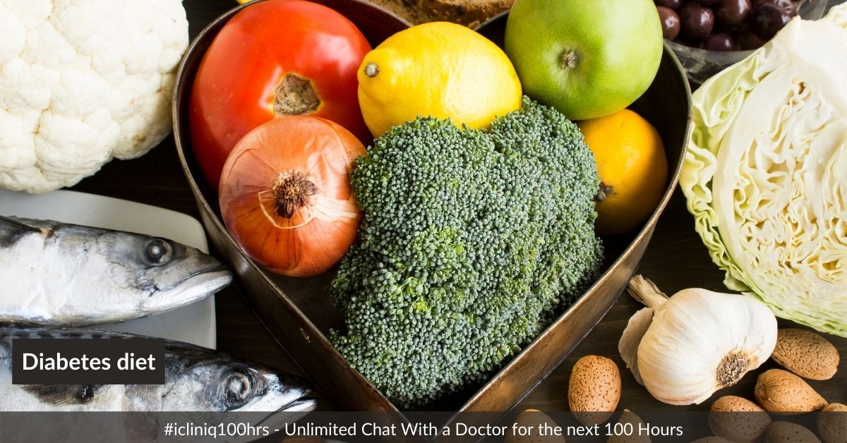 Please suggest a diet to take care of diabetes and creatinine level.