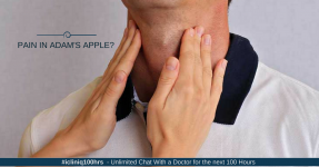What can be the causes of pain below Adam's apple?