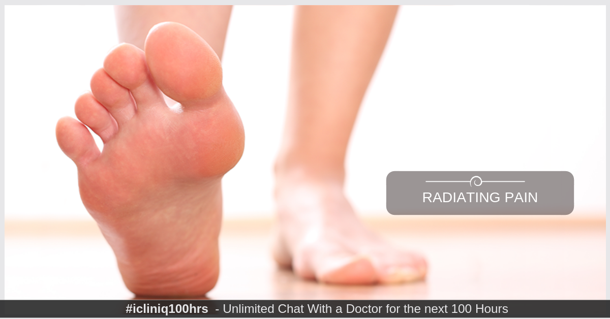 What are the causes of radiating pain in the first metatarsal?