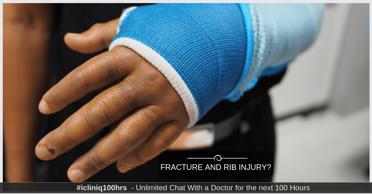 What is the treatment for arm fracture and rib injury?